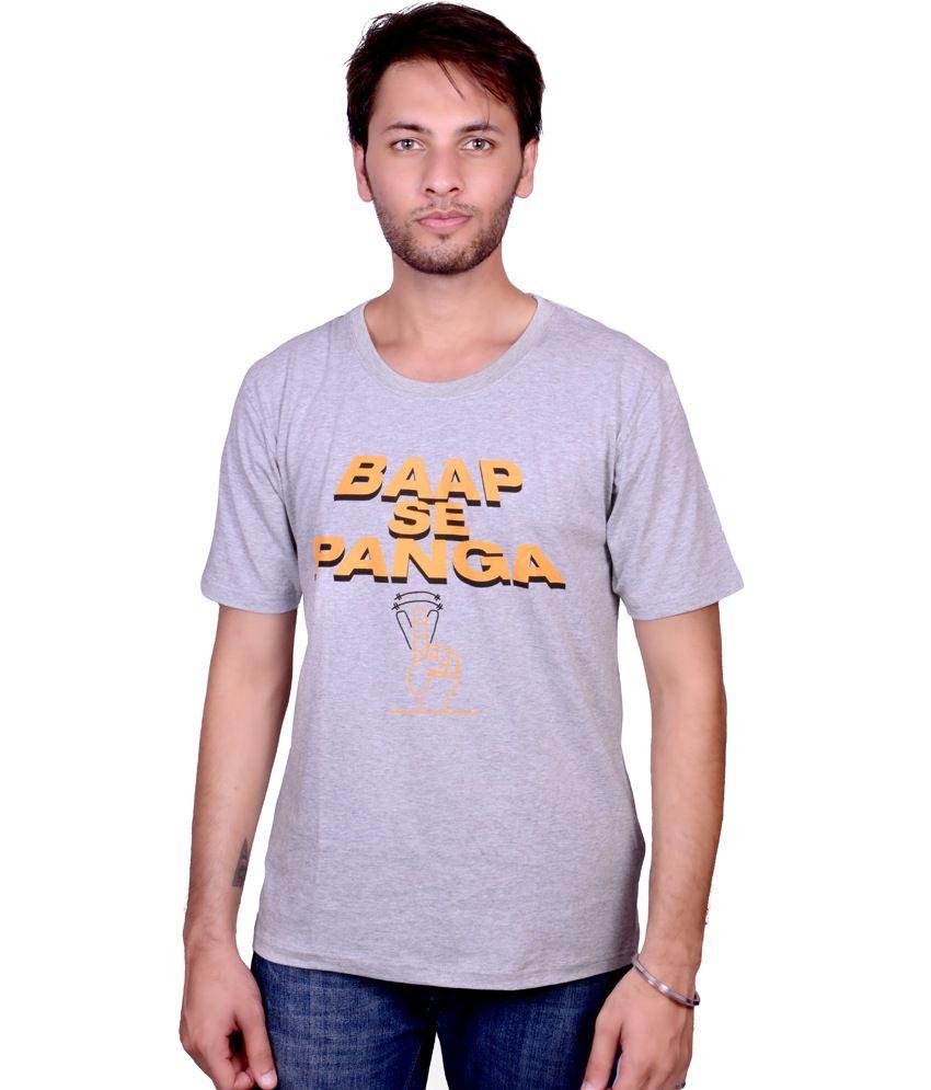 SwadesiStuff Gray Cotton Printed T-Shirt