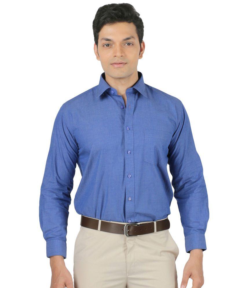 Zido blue cotton formal shirt for men buy zido blue for Formal shirts for men online