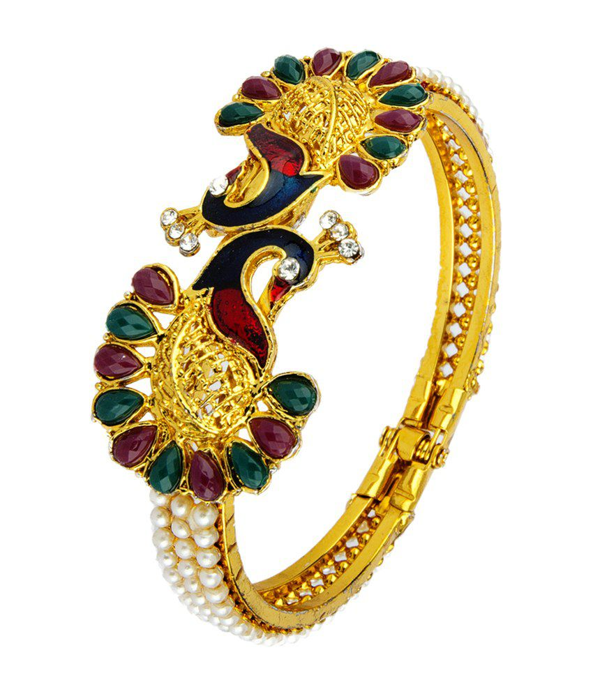 Adhira 24kt Gold Plated Twin Peacock Design Kada Buy
