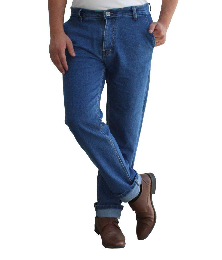 Club Vintage Blue Cotton Slim Fit Jeans