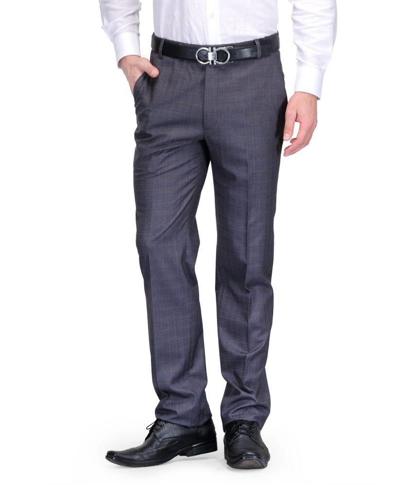 Debello Gray Poly Viscose Smart Fit Formals Trouser