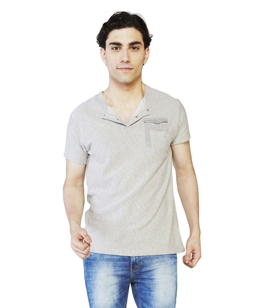 Globus Gray Cotton Half Sleeve Henley T-Shirt