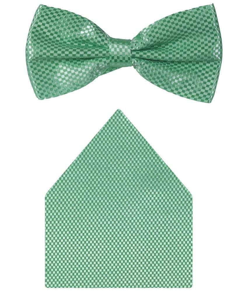 Tiekart Micro Fibre Buzzing Combo Of Green Pocket Square & Bow Tie