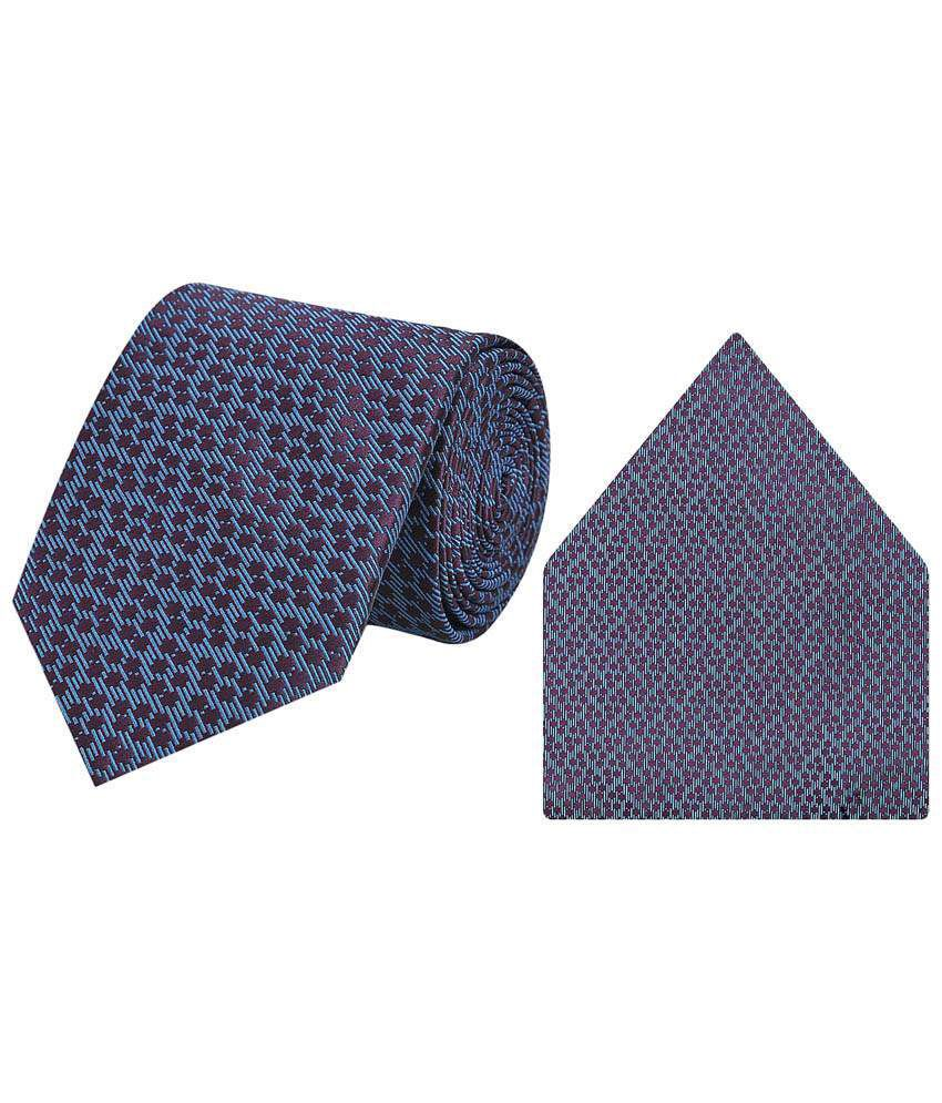 Tiekart Micro Fibre Combo Of Blue Necktie & Pocket Square