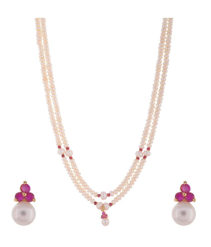 Ganapathy Gems White Long Pearl Necklace with Pink Ruby Stones