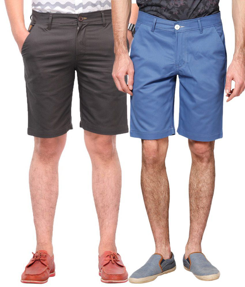 Haute Couture Gray & Blue Solid Shorts Combo Of 2