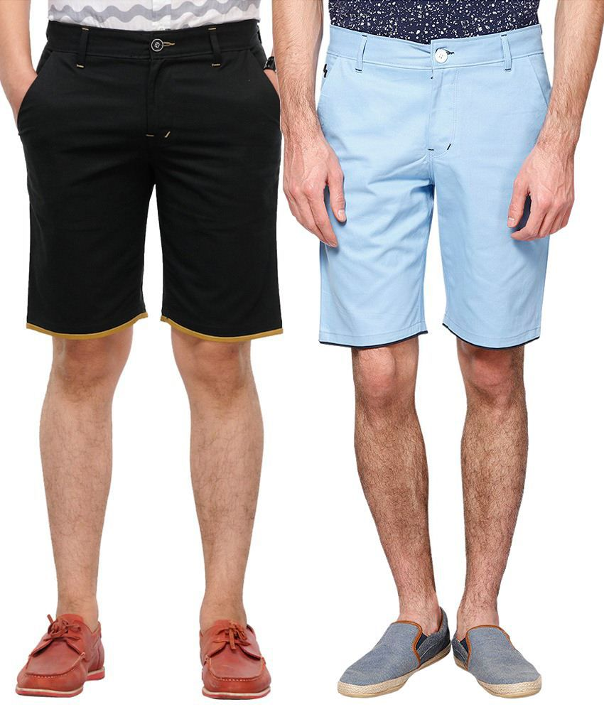 Haute Couture Voguish Black & Blue Solid Shorts Combo Of 2