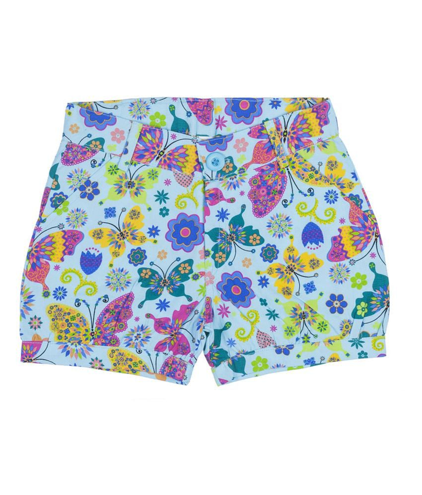 Hunny Bunny Blue Printed Cotton Shorts