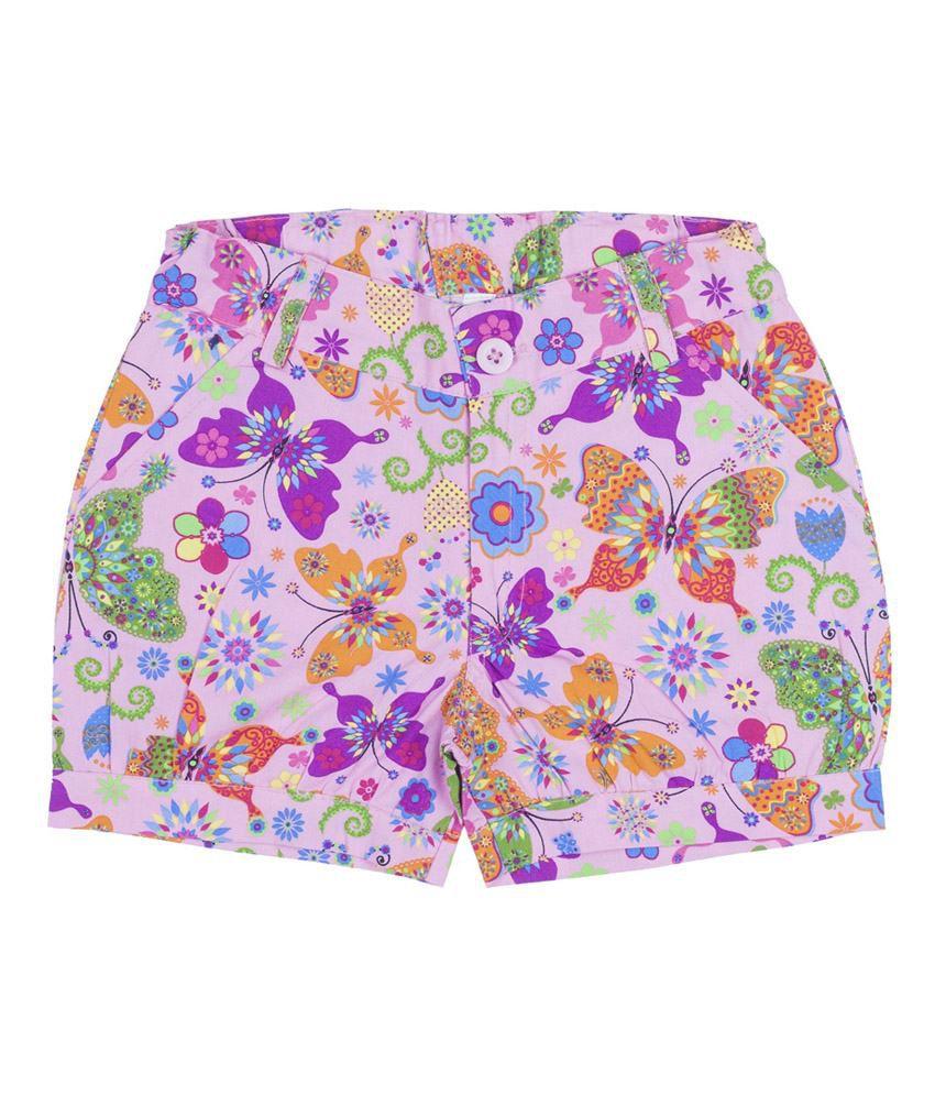 Hunny Bunny Pink Printed Cotton Shorts