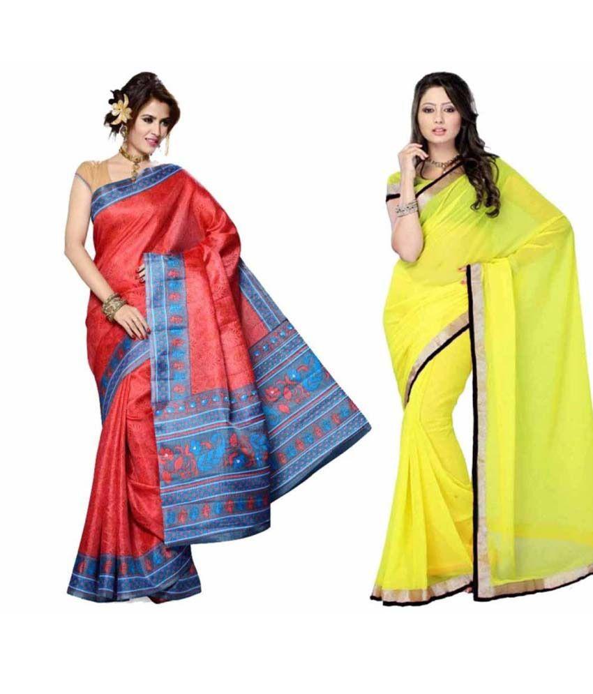 Somya Combo Of 2 Printed Bhagalpuri Silk Saree And Faux Chiffon Saree