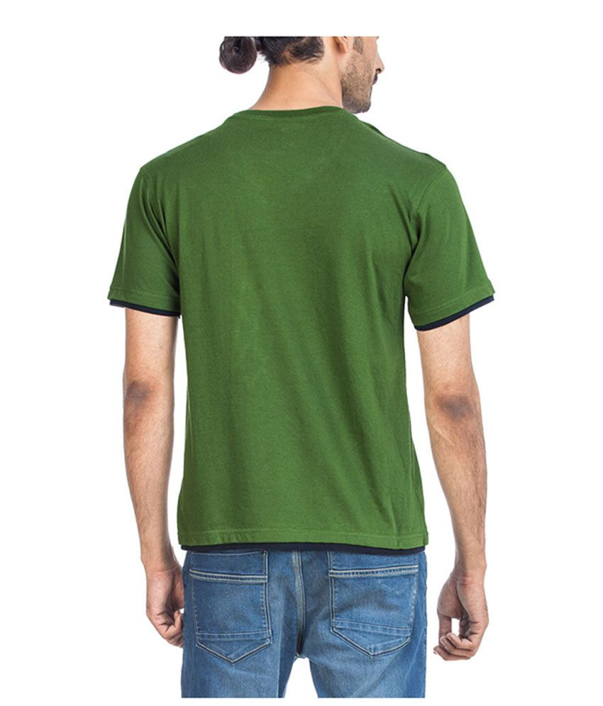 Zovi Indian Green Crew Neck Solid T-shirt