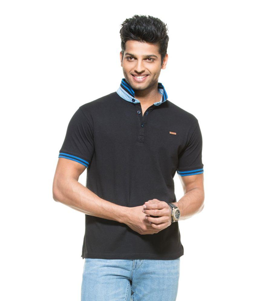 106c3821a Zovi Jet Black Solid Pique Knit Polo T-shirt with Blue Striped Mandarin  Collar - Buy Zovi Jet Black Solid Pique Knit Polo T-shirt with Blue Striped  Mandarin ...