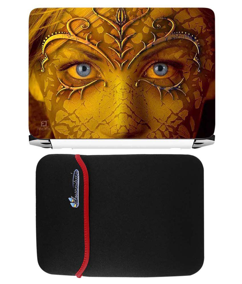 Anwesha's Red Reversible Laptop Sleeve With Lady Face Art Printed Laptop Skin