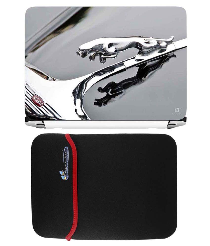Anwesha's Red Reversible Laptop Sleeve With Jaguar Logo Printed Laptop Skin