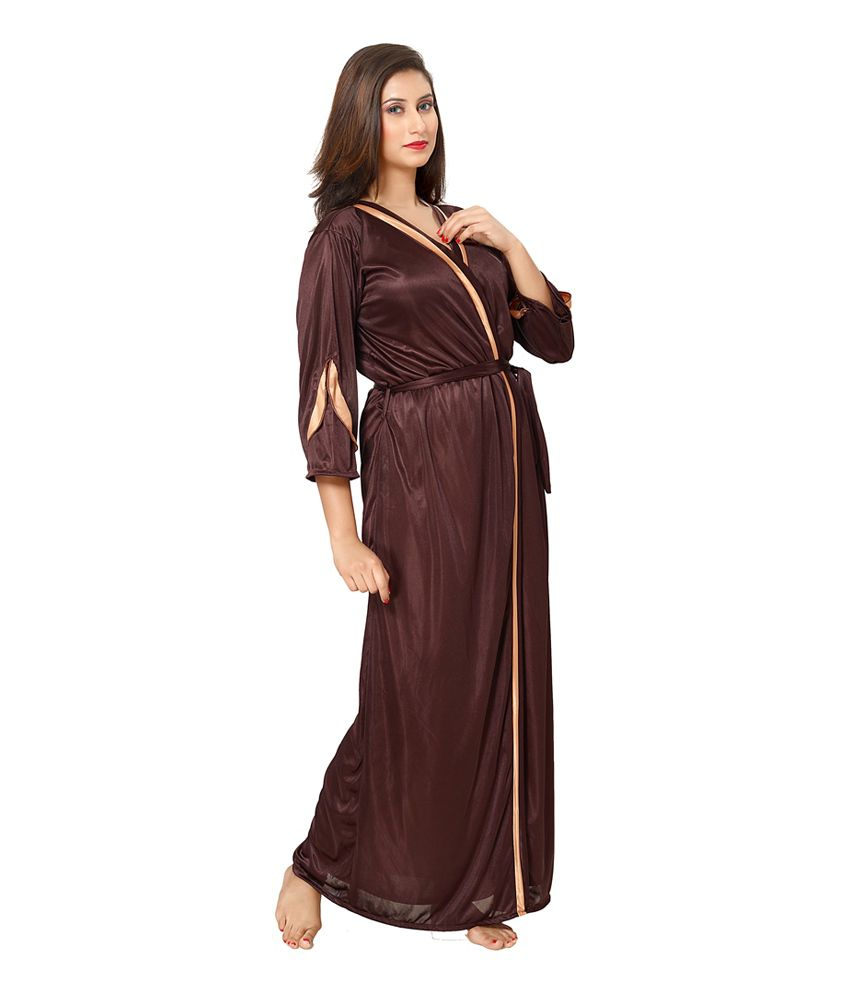 e1b109b21a53 Buy Fashigo Brown Satin Nighty   Night Gowns Pack of 2 Online at ...