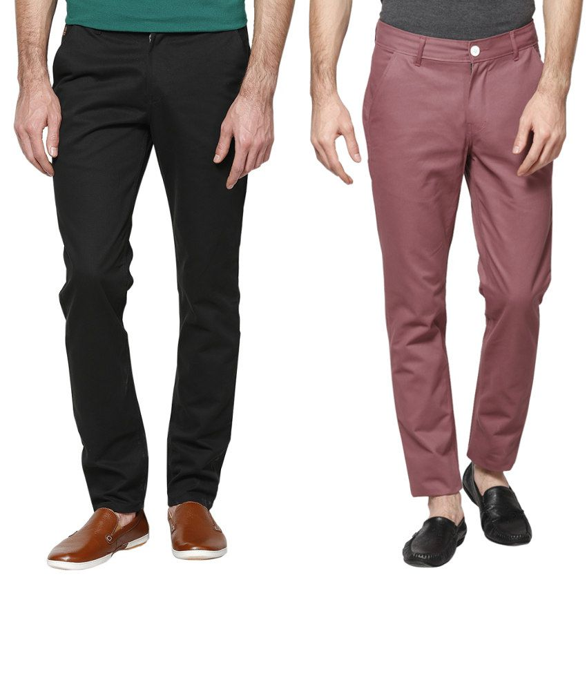 Haute Couture Black And Maroon Cotton Trousers