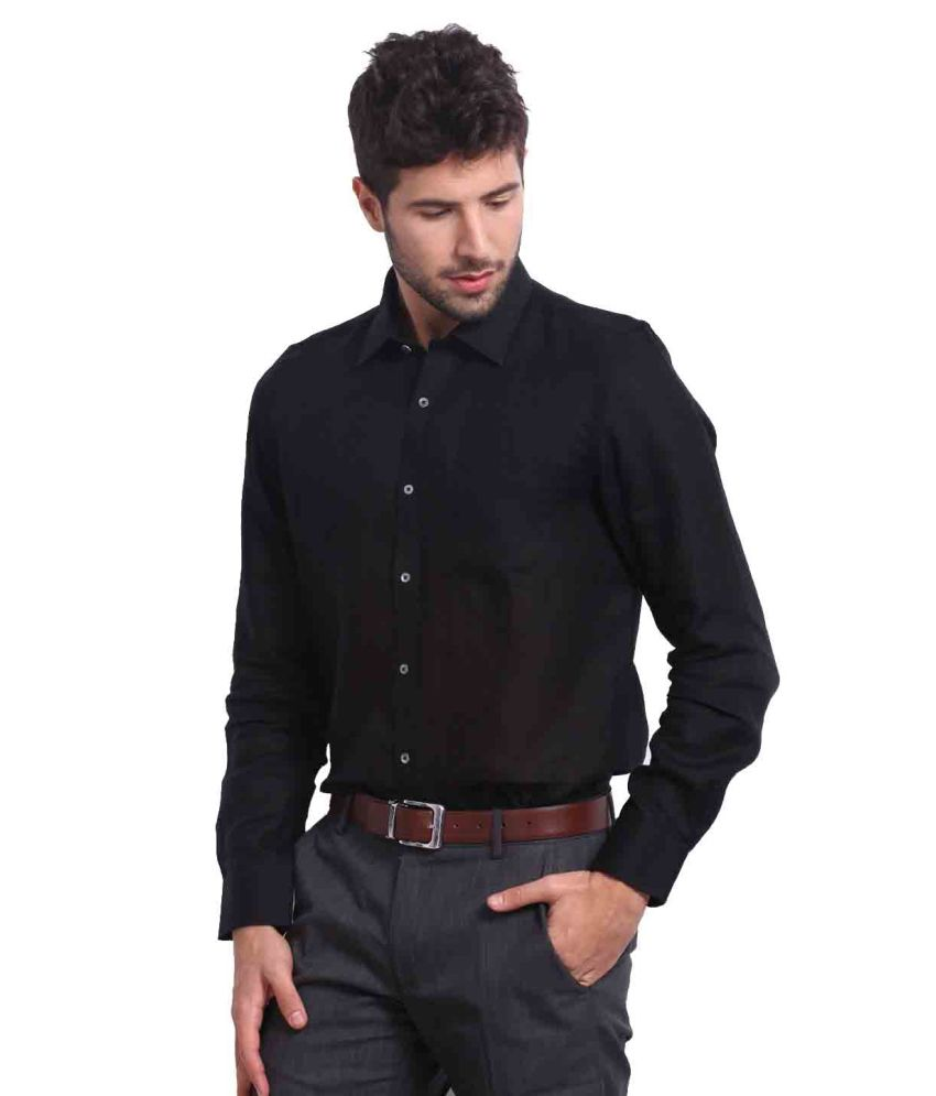 Kohinoor Cornet Pure Linen Formal Black Shirt - Buy Kohinoor ...