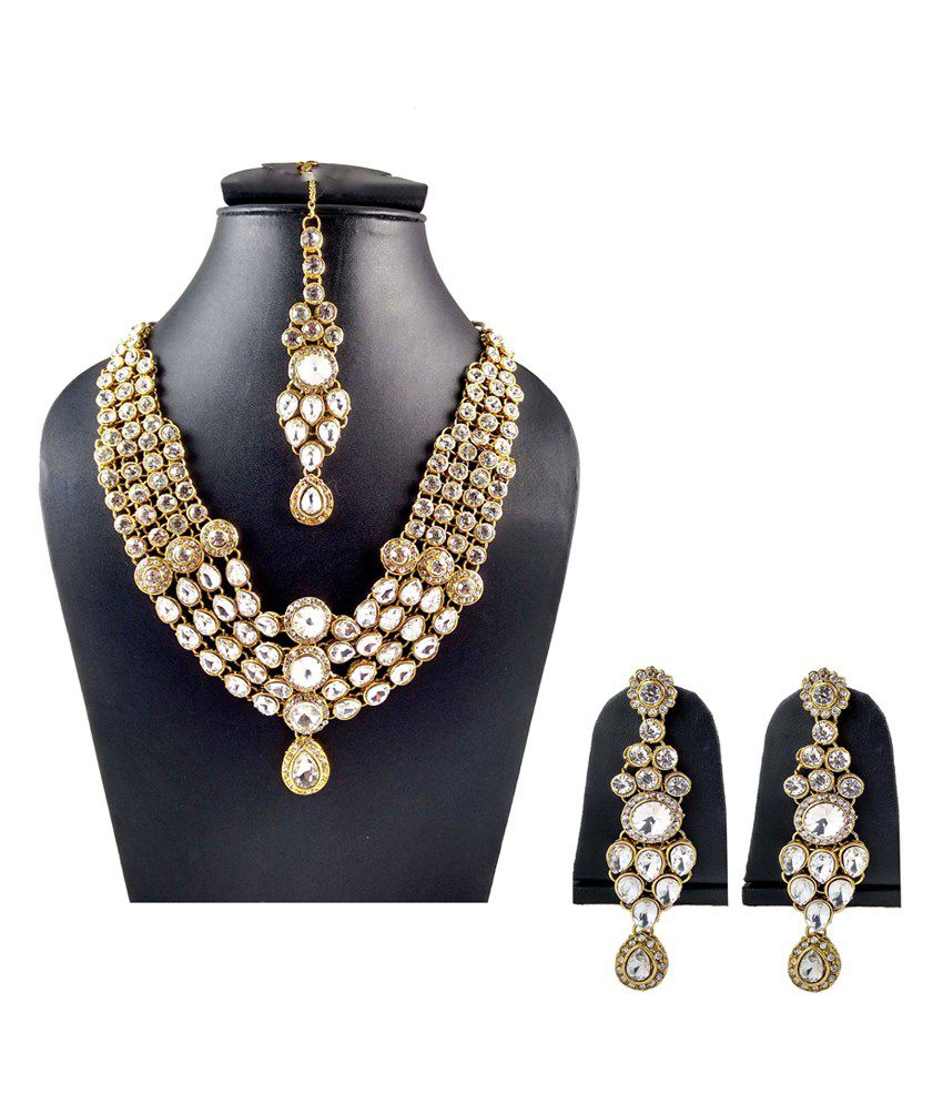 626c21e288111 Hotpiper American Diamond Rani Haar With Earrings And Maang Tika ...
