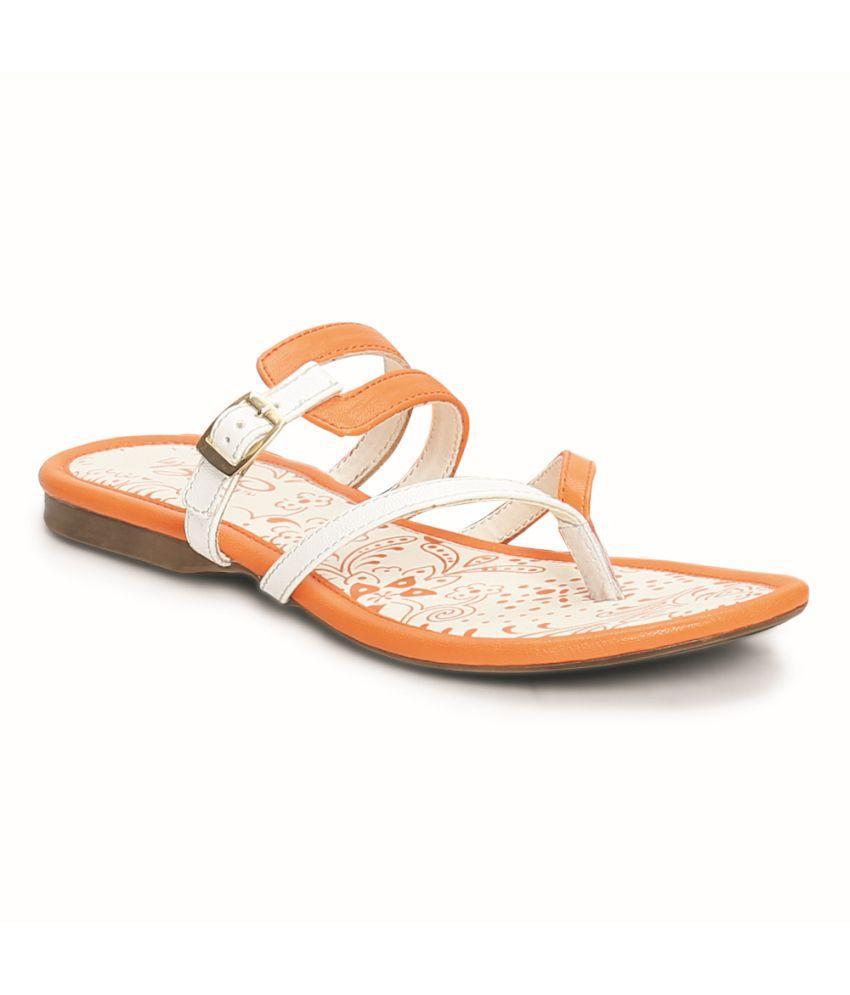 La Briza Orange Faux Leather Thong Flat Slip-on