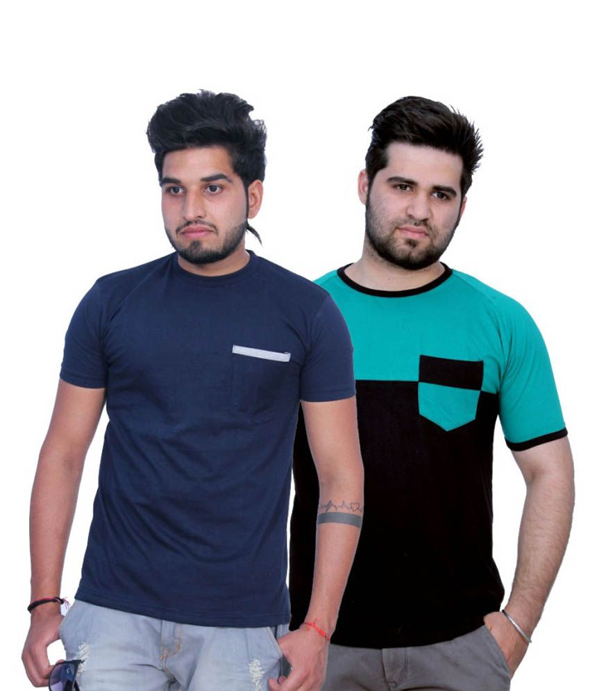 Martech Half Sleeves Cotton Round Neck T-shirt set Of 2