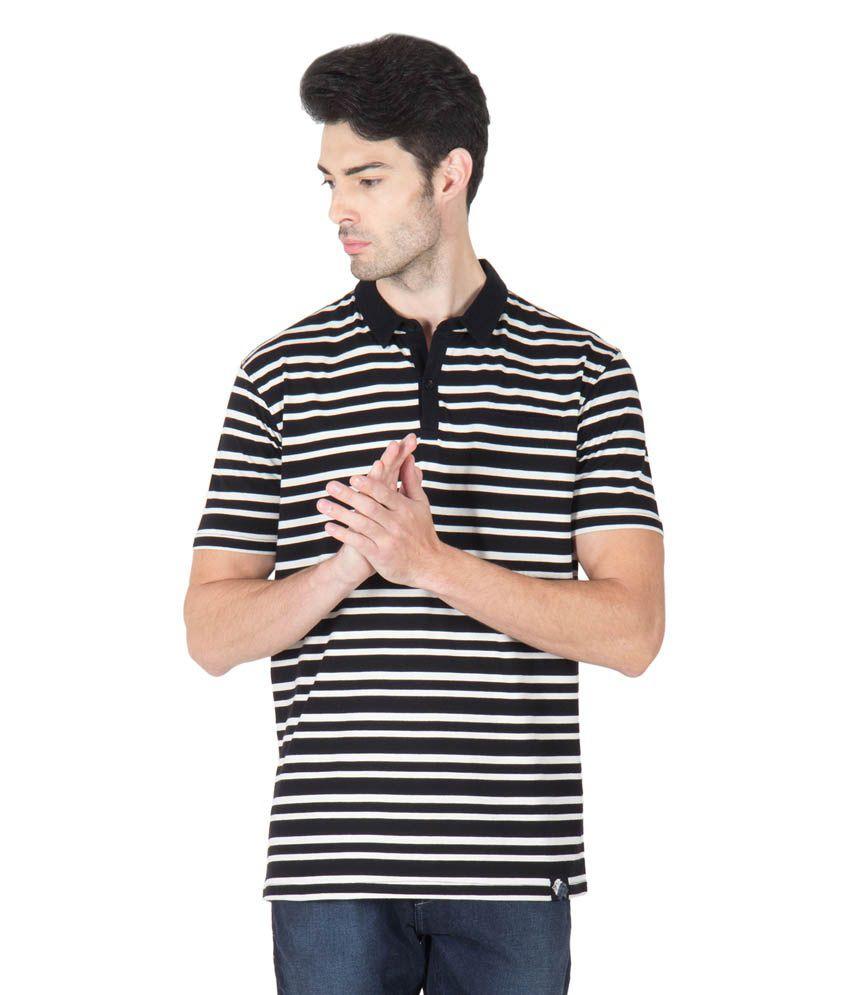 Roar And Growl Black Cotton Half Sleeve Polo T-shirt