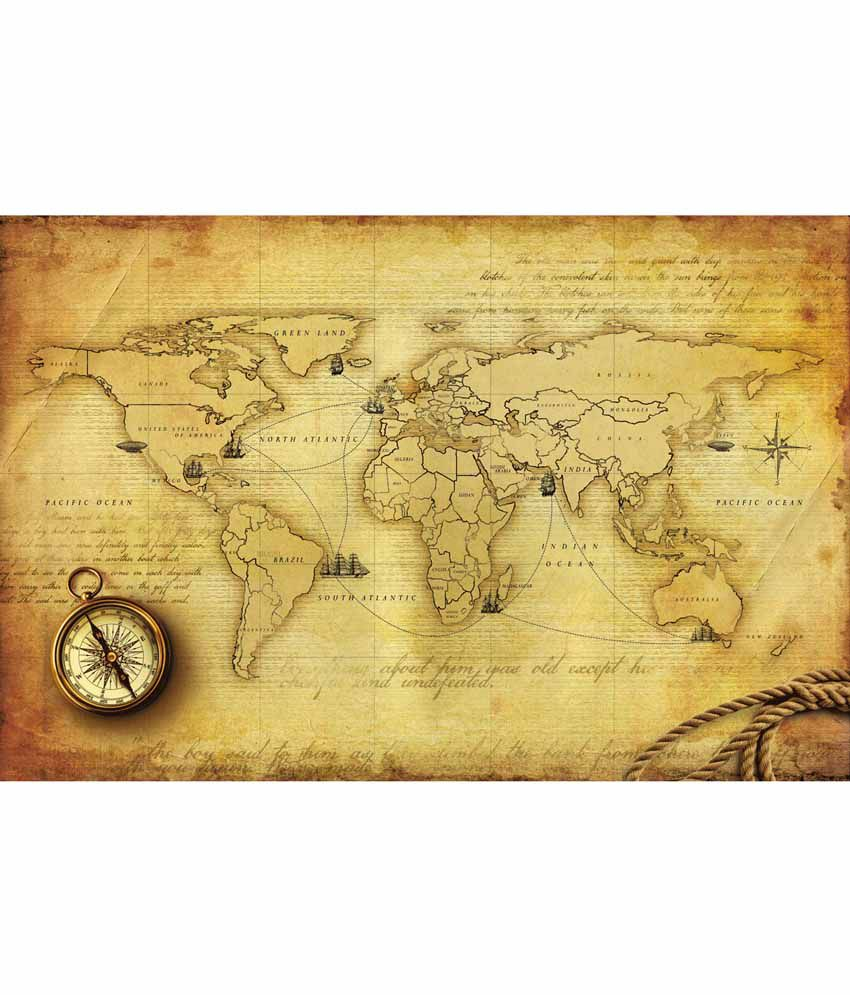 Buy walls and murals vintage world map wallpaper online at for Antique world map wallpaper mural