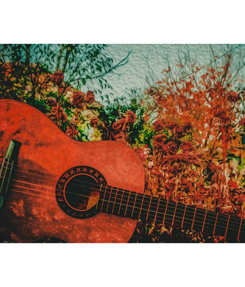 Wonder Images Pvt. Ltd. Beautiful Guitar And Leaves Canvas Art