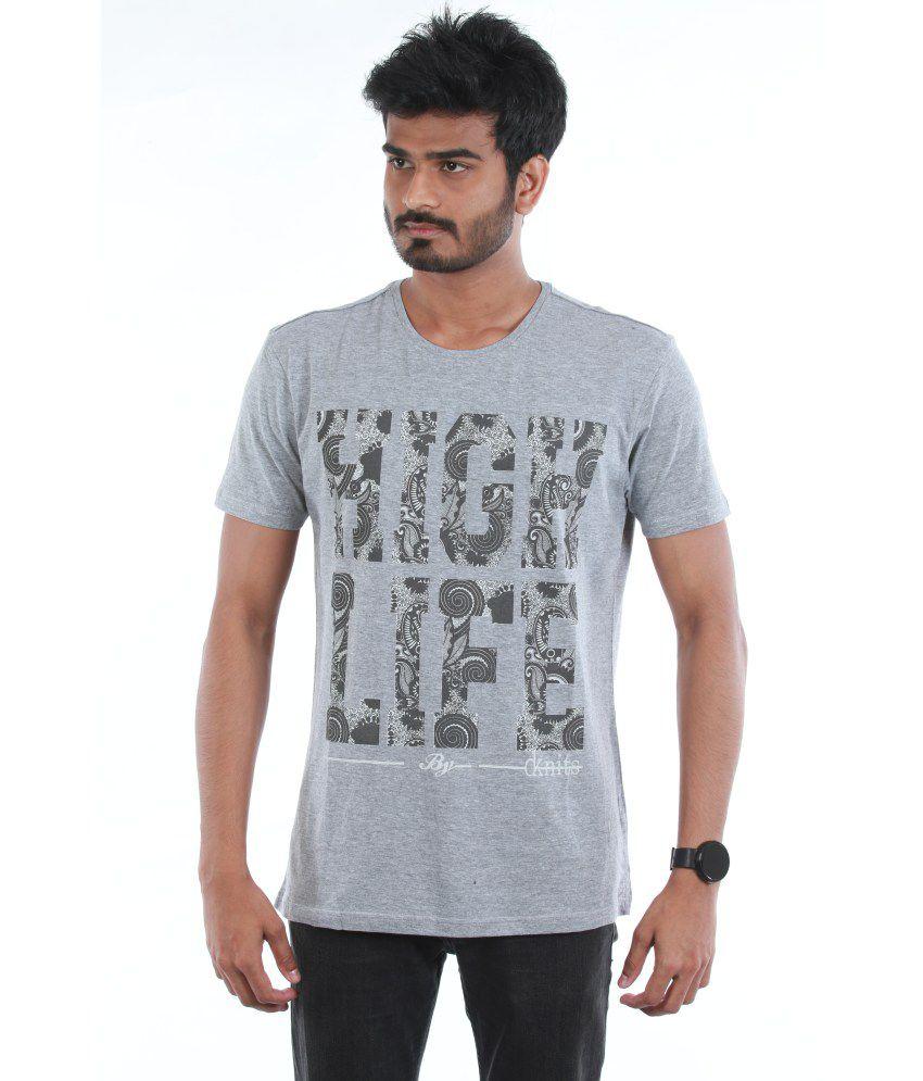 Dream Knits Cotton Gray Printed Men T Shirt