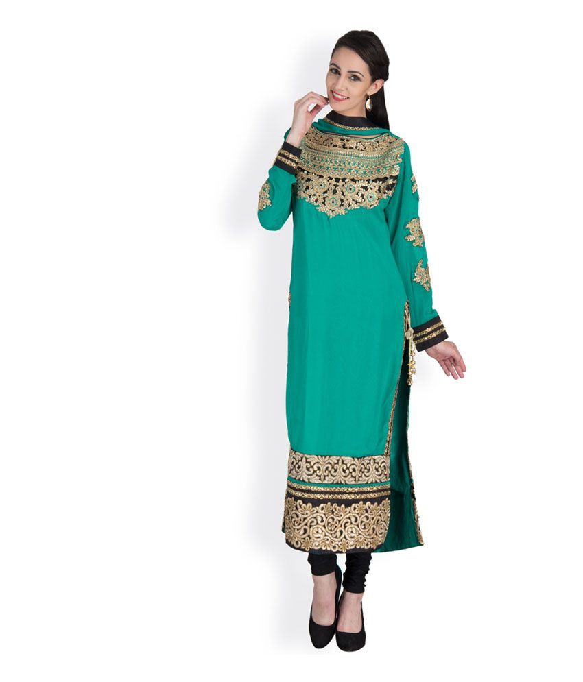 Famous By Payal Kapoor Black Pure Georgette Stitched Embroidered Stylish Straight Lined Suit Set