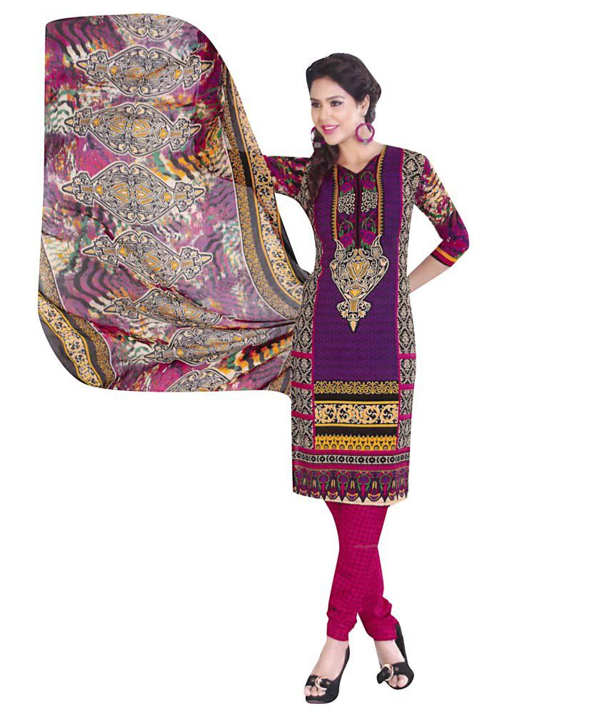 Fatima Creation Purple Printed Dress Material