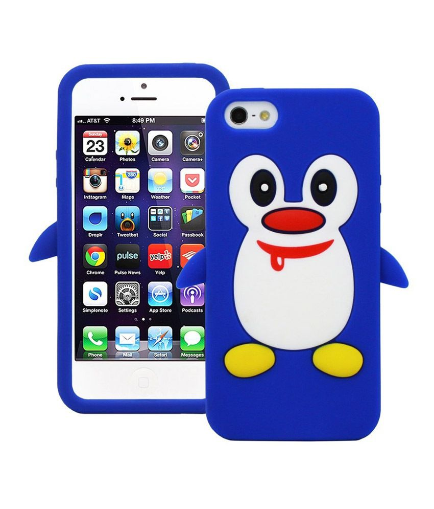 Flikon Penguin silicon Jelly Back Cover for iPhone 5G-Blue