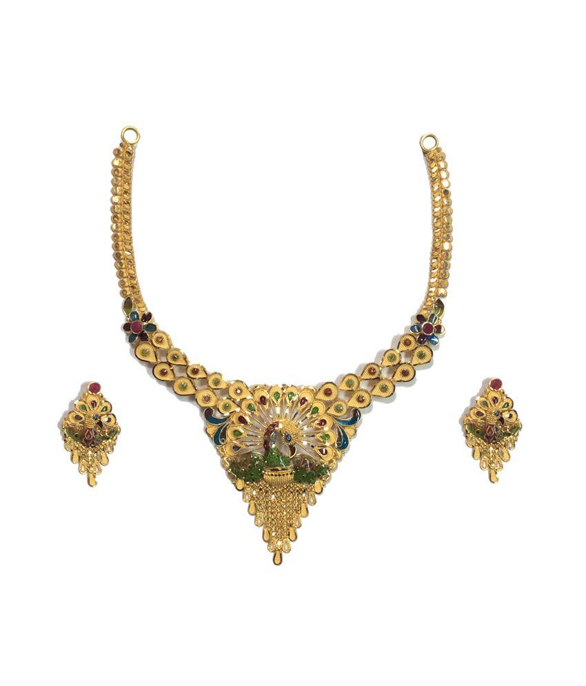 Kataria Jewellers 22kt Hallmarked Gold Meenakari Complete Bridal Necklace Set
