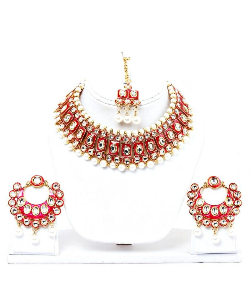 f88082022f ... Jewellery Red Bridal Kundan Necklace Set With Maang Tika: Buy Lucky Jewellery  Red Bridal Kundan Necklace Set With Maang Tika Online in India on Snapdeal