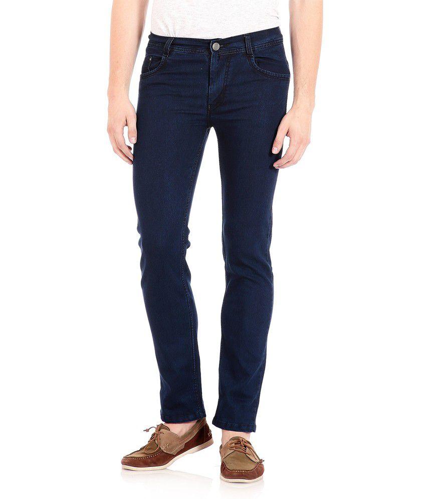 Flyjohn Men's Blue Denim Jeans