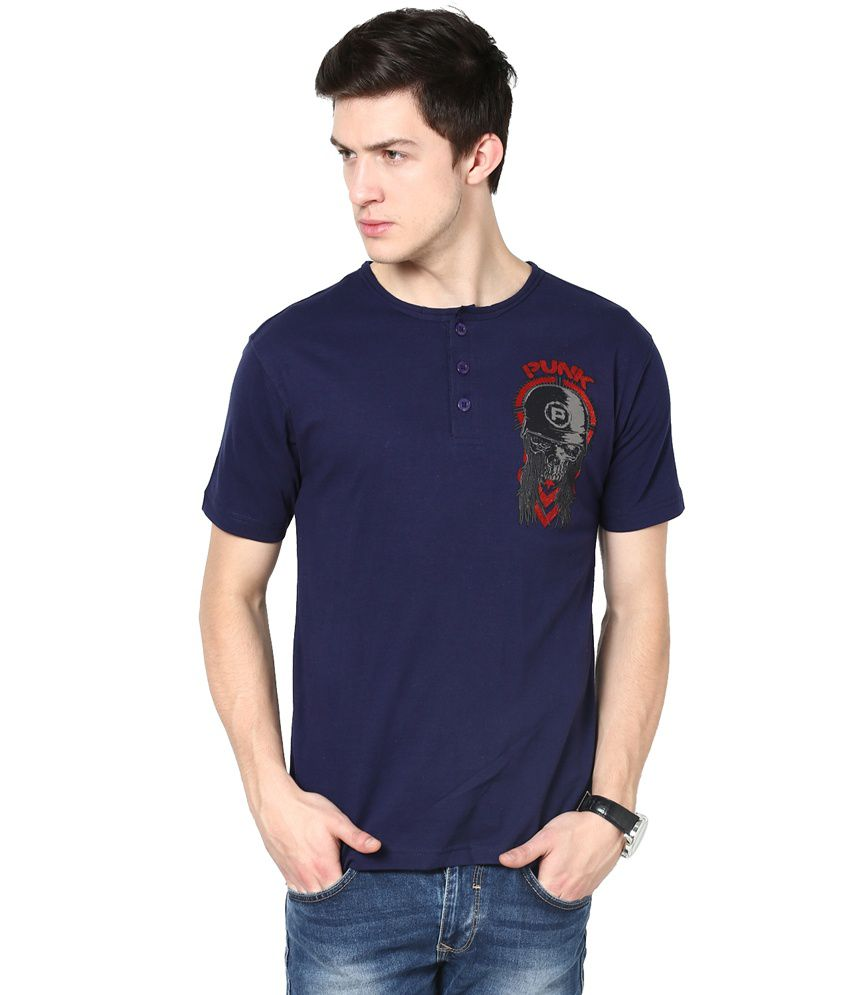 PUNK Navy Cotton T Shirt For Men