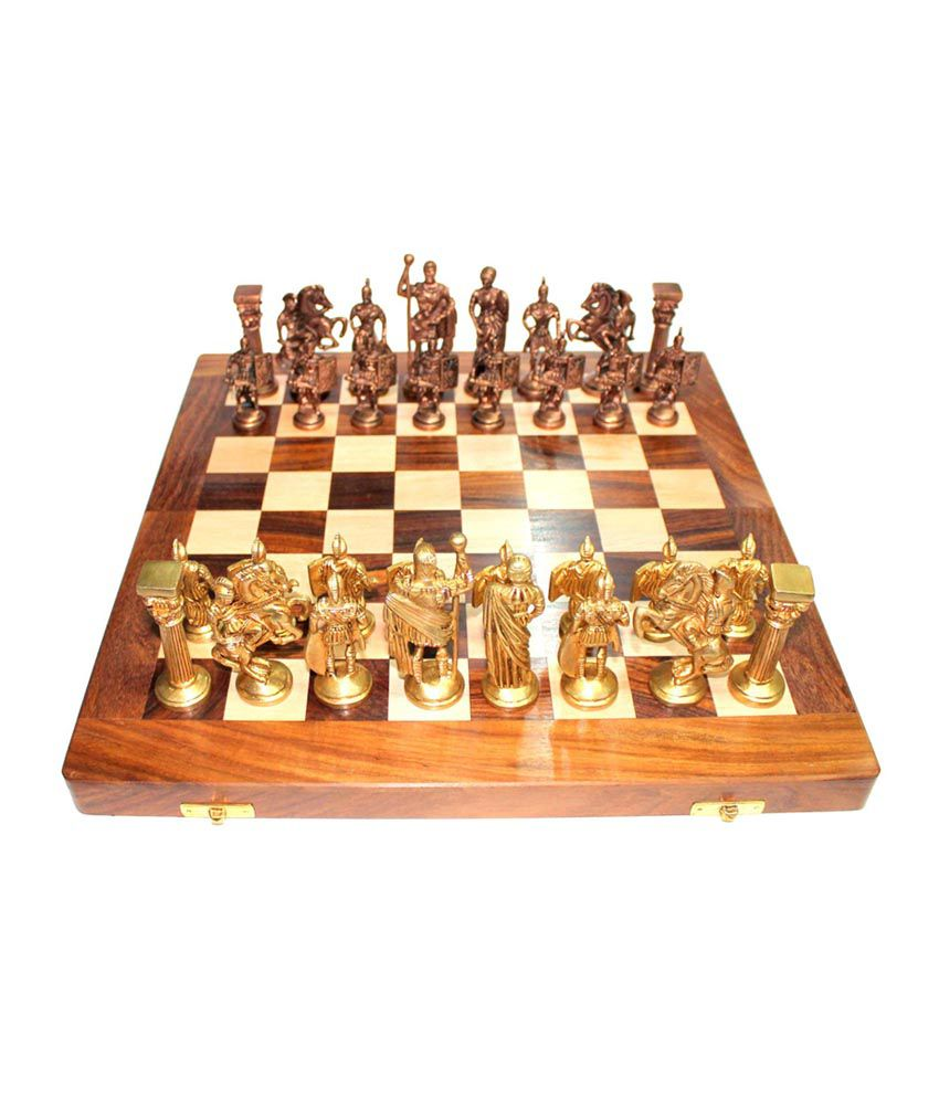 craft store india Hand Made Wooden Chess Board 14 Inchx14 Inch Folding With 4 Inch Brass Chess Pieces