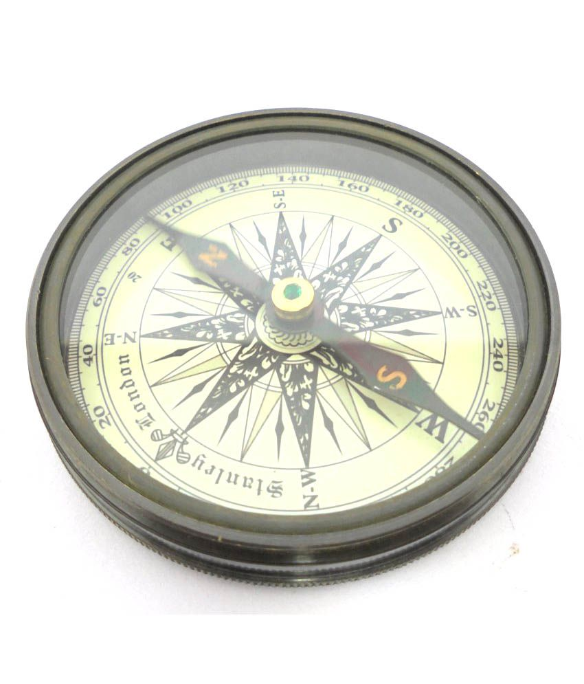 Ageless Azyra Antique Vintage Style Brass Pocket Compass With World Time