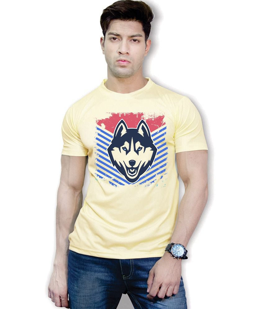 Effit Yellow Polyester Printed T-Shirt