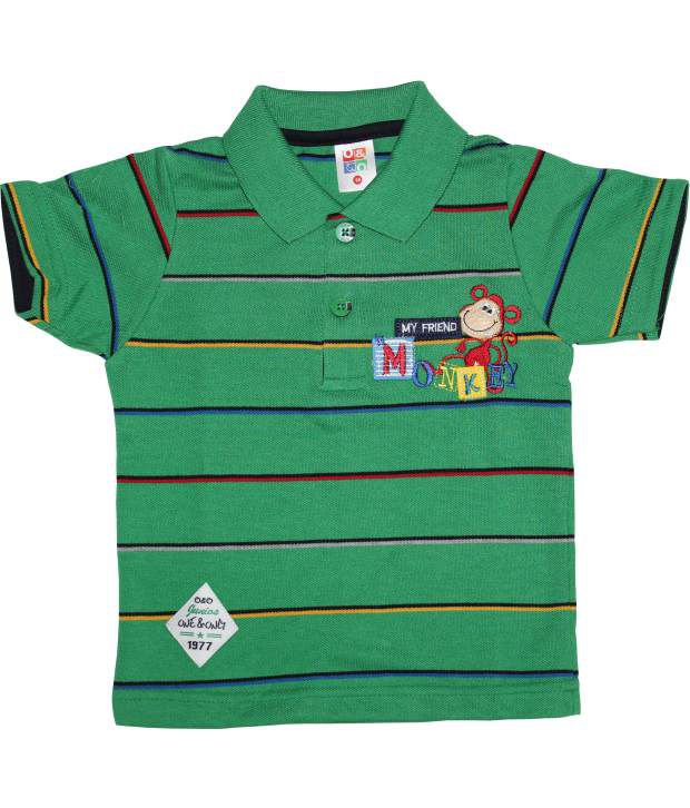 O&o Half Sleeve Cotton Stripes Green Baby T-shirt