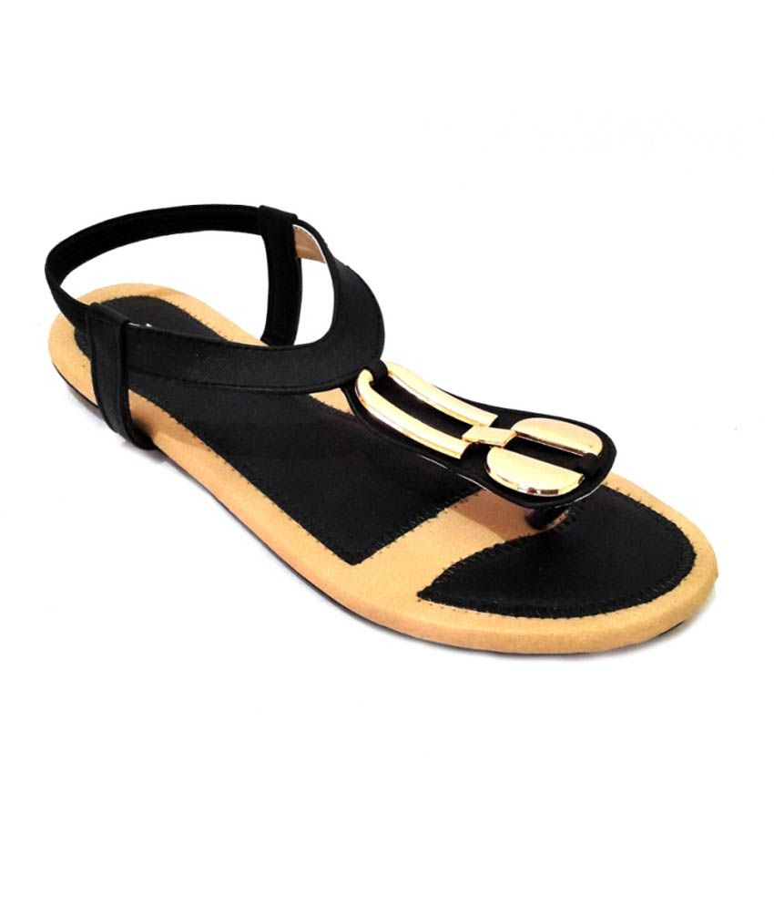 Women Black Daily Wear Flat Sandal
