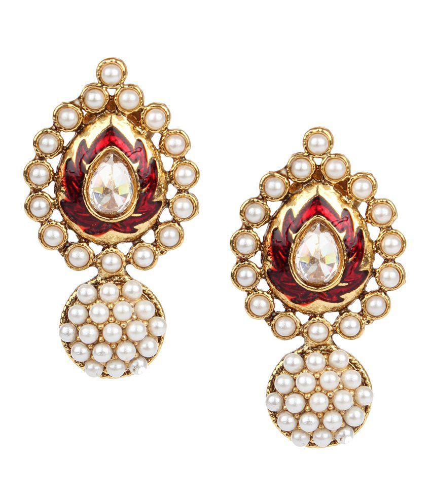 Adiva White Alloy Stud Earrings