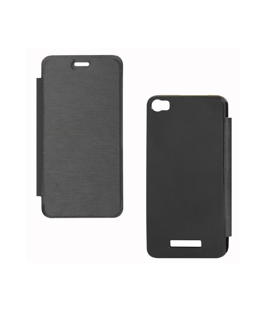 Premium Black Synthetic Flip Flap Cover for Micromax A40