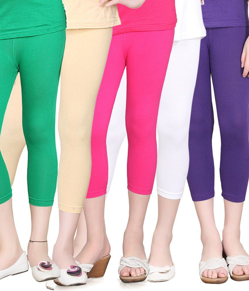 Sinimini Combo of 5 Multicolor Cotton Tights