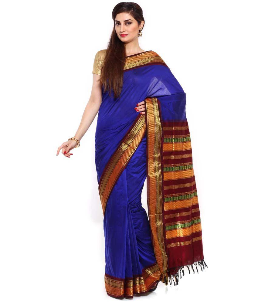 Sudarshan Silks Blue Art Silk Jacquard Saree With Blouse Piece