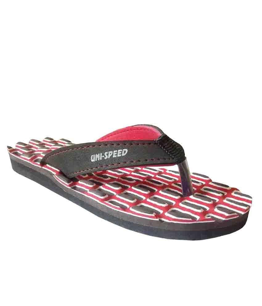 Unispeed Accupressure + Foot Massage Flipflops (Red)