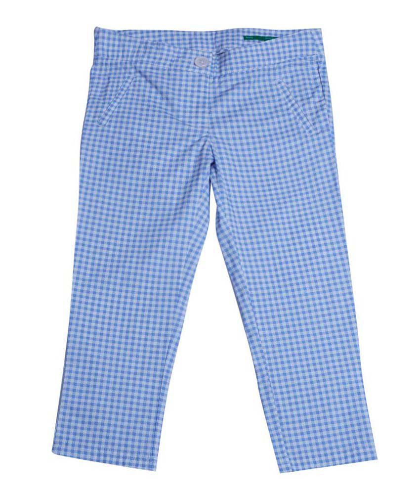 United Colors of Benetton Printed Blue Casual Polka And Floral Capris