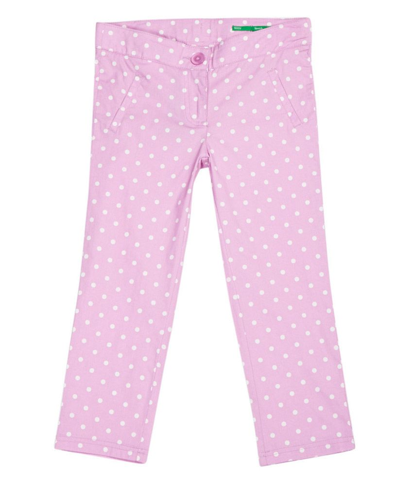 United Colors of Benetton Printed Cadillac Pink Casual Polka And Floral Capris