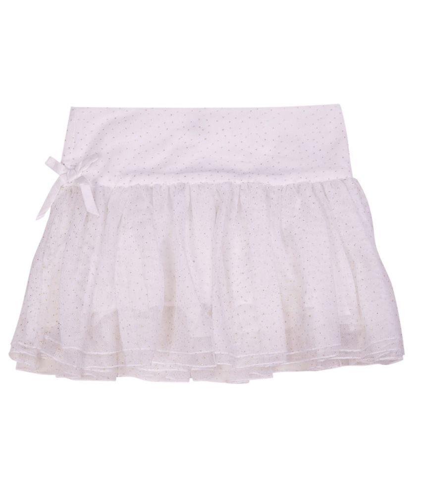 United Colors of Benetton Solid White Evening Skirt Wth Mesh And Glitter