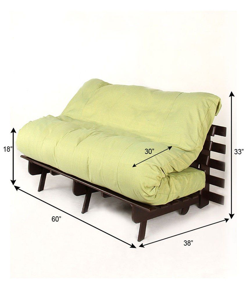 ARRA Double Futon Sofa Cum Bed with Mattress - Green - Buy ...