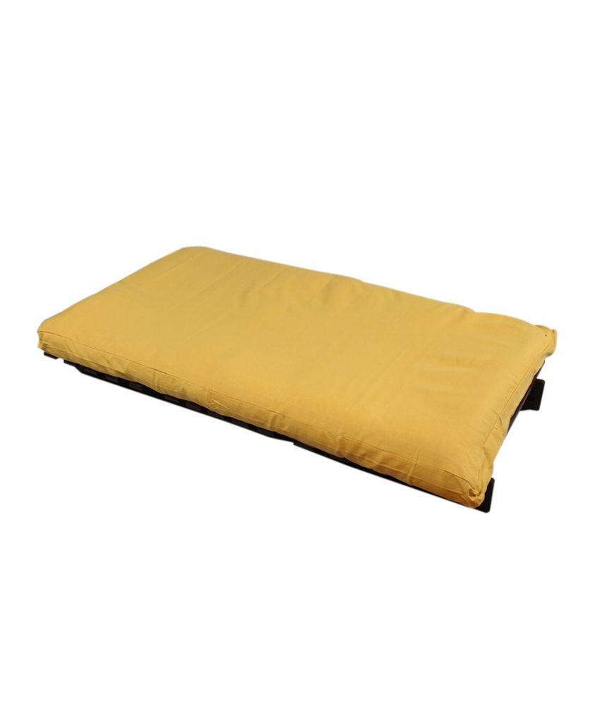 Arra Single Futon Sofa Cum Bed With Mattress Yellow